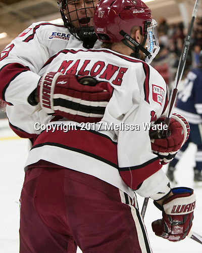 Tyler Moy (Harvard - 2), Sean Malone (Harvard - 17) - The Harvard University Crimson defeated the Yale University Bulldogs 6-4 in the opening game of their ECAC quarterfinal series on Friday, March 10, 2017, at Bright-Landry Hockey Center in Boston, Massachusetts.