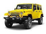 Yellow 2011 Jeep Wrangler Unlimited Sahara 4x4 SUV isolated on white background with clipping path