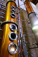 Part of a grappa still. Sata Souji Shoten Shochu Distillery, Minami Kyushu, Kagoshima Pref, Japan, December 21, 2016. The Sata Souji Shoten Shochu Distillery makes shochu spirits from local sweet potatoes. In recent years the distillery has imported grappa, brandy, calvados stills from Europe to experiment with new distilling techniques. They have attracted considerable attention from the media and other distillers as leading innovators in their industry.