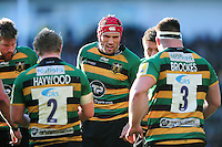 Christian Day of Northampton Saints rallies his fellow forwards during a break in play. Aviva Premiership match, between Northampton Saints and Leicester Tigers on April 16, 2016 at Franklin's Gardens in Northampton, England. Photo by: Patrick Khachfe / JMP