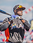 1 April 2013: Miami Marlins infielder Adeiny Hechavarria awaits his turn in the batting cage prior to the Opening Day Game against the Washington Nationals at Nationals Park in Washington, DC. The Nationals shut out the Marlins 2-0 to launch the 2013 season. Mandatory Credit: Ed Wolfstein Photo *** RAW (NEF) Image File Available ***