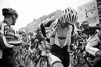 John Degenkolb (DEU/Giant-Shimano) checking his radio before the start<br /> <br /> Gent-Wevelgem 2014