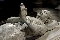 Gisant of Bertrand du Guesclin (1320 - 1380), supreme commander of the French armies, marble, commissionned by Charles VI, 1389 - 1397, by Raymond du Temple (architect), Thomas Prive (sculptor) and Robert Loisel (sculptor), Abbey church of Saint Denis, Seine Saint Denis, France. Picture by Manuel Cohen