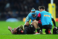 Kyle Sinckler of Harlequins is treated for an injury. Aviva Premiership match, between Harlequins and Gloucester Rugby on December 27, 2016 at Twickenham Stadium in London, England. Photo by: Patrick Khachfe / JMP