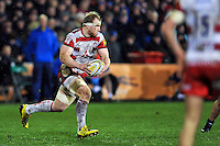 Matt Kvesic of Gloucester Rugby goes on the attack. Aviva Premiership match, between Bath Rugby and Gloucester Rugby on February 5, 2016 at the Recreation Ground in Bath, England. Photo by: Patrick Khachfe / Onside Images