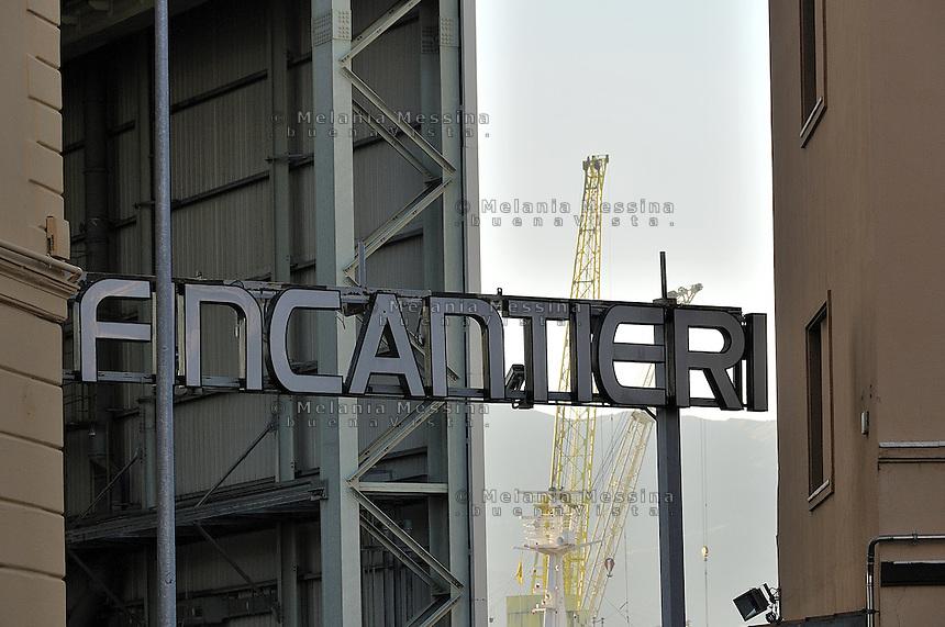 Entrance to the Fincantieri shipyard in Palermo..Ingresso alla Fincantieri di Palermo.