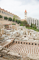 The ruins of the ancient Roman Baths in Beirut, Lebanon