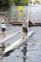 Maidenhead. Great Britain. Amateur Punting Championship, Men's Single. Left Andy TOMPKINSON and Right Mike HART  Thames Punting Club Regatta. River Thames, Bray Reach. Sunday  14/08/2011   [Mandatory credit: Peter Spurrier Intersport Images]
