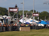 Jul 8, 2016; Joliet, IL, USA; Fox Sports television cameras are visible as fans watch NHRA qualifying for the Route 66 Nationals at Route 66 Raceway. Mandatory Credit: Mark J. Rebilas-USA TODAY Sports