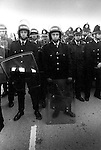Police reinforcments, Miners Strike 1984 Gasgoine Pit Yorkshire . They are waiting for the so called Scabs - working Miners, to arrive my coach and be bused ionto work, through a picket line.