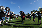 August 17, 2012; Members of the Notre Dame Marching Band march onto Stepan Field during move in day.  Photo by Barbara Johnston/University of Notre Dame