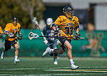 16 April 2016: University of Maryland, Baltimore County Retriever Defender / Long Stick Midfielder Billy O'Hara, a Sophomore from Davidsonville, MD, in action against the University of Vermont Catamounts at Virtue Field in Burlington, Vermont. The Retrievers fell to the Catamounts 14-10 in NCAA Division I play. Mandatory Credit: Ed Wolfstein Photo *** RAW (NEF) Image File Available ***