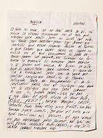 &copy; Adam Patterson / Panos Pictures..Letter from Edison Pena to Angelica Alvarez....Edison Pena was the 12th miner to be freed from the San Jose mine in Chile where 33 miners were trapped for 69 days. He was the first to return home from hospital.