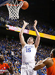 UK forward Isaac Humphries (15) goes up for a rebound during the UK Men's Basketball vs. Florida Gators game at Rupp Arena. Saturday, February 6, 2016 in Lexington, Ky. UK defeated Florida 80 - 61