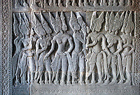 Stone carved bas relief of Hindu mythology in the south west corner pavilion at Angkor Wat, built in the 11th century by Suryavarman the 2nd,  -  Cambodia..