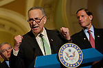 Senator CHUCK SCHUMER (D-NY) and Senate Democrats respond to Republicans on Budget during a press conference on Capitol Hill Wednesday.