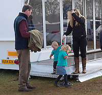 Savannah & Isla Phillips & parents at Gatcombe horse trials - UK