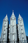 Utah, Salt Lake City, Temple at Temple Square..Photo # utsalt607.  Photo copyright Lee Foster.  .