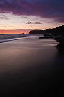 Incoming tide at sunset, Rialto Beach, Olympic national park, Washington, USA