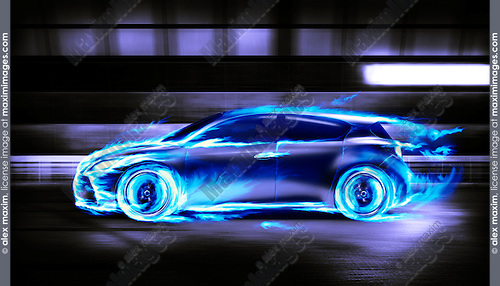 Covered in burning blue flames sports car racing along a tunnel, side view