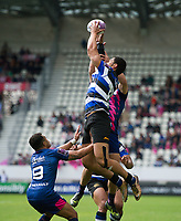 Robbie Fruean of Bath Rugby claims the ball in the air. European Rugby Challenge Cup Semi Final, between Stade Francais and Bath Rugby on April 23, 2017 at the Stade Jean-Bouin in Paris, France. Photo by: Patrick Khachfe / Onside Images