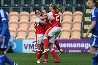 Heather O'Reilly of Arsenal Ladies is congratulated after scoring the opening Arsenal goal during Arsenal Ladies vs Birmingham City Ladies, FA Women's Super League FA WSL1 Football at the Hive Stadium on 20th May 2017