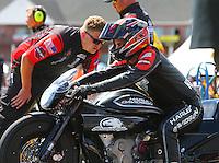 Aug 21, 2016; Brainerd, MN, USA; NHRA pro stock motorcycle rider Eddie Krawiec during the Lucas Oil Nationals at Brainerd International Raceway. Mandatory Credit: Mark J. Rebilas-USA TODAY Sports
