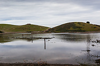 In March 2017 the additional parking at Coyote Hills Regional Park was inundated, flooded.