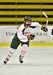 29 January 2012: University of Vermont Catamount forward Valerie Stoul, a Sophomore from Montville, NJ, in action against the University of New Hampshire Wildcats at Gutterson Fieldhouse in Burlington, Vermont. The Lady Cats, dressed in their Breast Cancer Awareness jerseys, edged out the Wildcats 2-1 to split their Hockey East twin-game weekend series. Mandatory Credit: Ed Wolfstein Photo