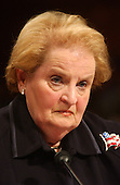 Washington, D.C. - March 23, 2004 -- Former United States Secretary of State Madeleine K. Albright testifies at the hearing of the National Commission on Terrorist Attacks Upon the United States (9/11 Commission) in Washington, DC on March 23, 2004.<br /> Credit: Ron Sachs / CNP<br /> [RESTRICTION: No New York Metro or other Newspapers within a 75 mile radius of New York City]