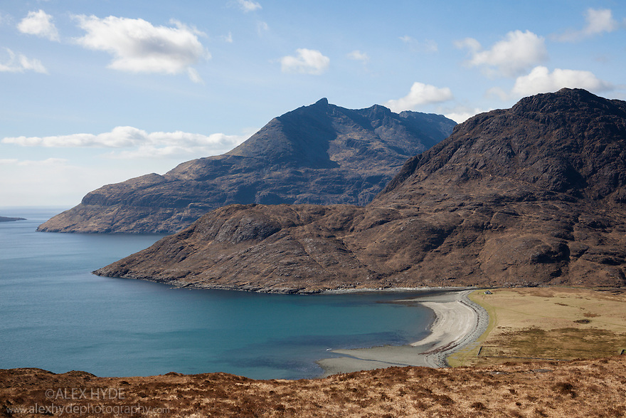 Camasunary Bay with the Cullin Hills in the background. Isle of Skye, Inner Hebrides, Scotland, UK. March.