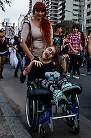 A disabled woman takes part in the annual Zombie Walk in Buenos Aires October, 2013. Photo by Juan Gabriel Lopera / VIEWpress.