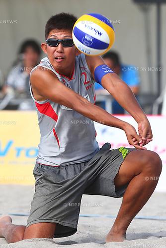 Satoshi Watanabe,<br /> SEPTEMBER 21, 2015 - Beach Volleyball : <br /> JBV Tour 2015 Tokyo Open<br /> Men's Final<br /> at Odaiba Beach, Tokyo, Japan.<br /> (Photo by Shingo Ito/AFLO SPORT)