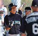Munenori Kawasaki (Mariners),.MARCH 15, 2012 - MLB :.Munenori Kawasaki of the Seattle Mariners laughs with his teammates during a spring training practice game against the Chicago White Sox in Glendale, Arizona, United States. (Photo by AFLO)