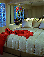 Bed Room, Glass Block, Red Throw, Exotic Flowers, Interior Design, Contemporary Interior .jpg