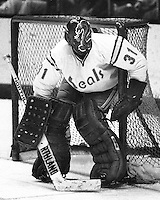 "California Golden Seal goalie Gary Simmons ""The Cobra"" (1976 photo by Ron Riesterer)"