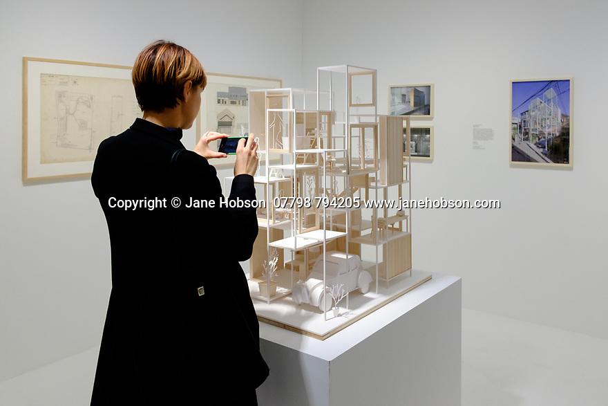 """London, UK. 22.03.2017. """"The Japanese House: Architecture and Life After 1945"""" exhibition opens in the Barbican Art Gallery, Barbican Centre. The exhibition is the first major UK one to focus on Japanese domestic architecture from the end of the Second World War to now. It features over 40 architects, including Tadao Ando, Toyo Ito, Kazuyo Sejima, Kenzo Tange, Osamu Ishiyama, Kazunari Sakamoto, Kazuo Shinohara, Hideyuki Nakayama, Chie Konno. At the heart of the exhibition is a full-size recreation of the Moriyama House (2005), by architect Ryue Nishizawa. Photograph © Jane Hobson."""
