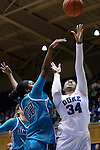 31 December 2015: Duke's Lynee Belton (34) and UNCW's Rebekah Banks (32). The Duke University Blue Devils hosted the University of North Carolina Wilmington Seahawks at Cameron Indoor Stadium in Durham, North Carolina in a 2015-16 NCAA Division I Women's Basketball game. Duke won the game 78-56.