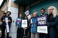 NUT &amp; UNISON strike at Central Foundation Girls School. Tower Hamlets 25-4-12 Teachers and support staff go on strike over cuts and increased workload.