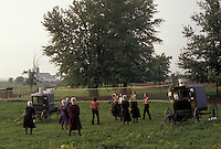 AJ3459, amish, volleyball, Amish Country, Lancaster County, Pennsylvania, A group of Amish teens play a game of volleyball with the net attached to two Amish buggies on an Amish farm in Pennsylvania Dutch Country in Lancaster County in the state of Pennsylvania.