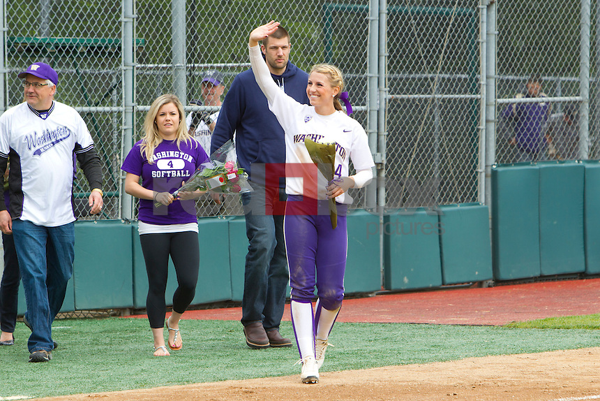 .Kimi Pohlman. The University of Washington women's softball team honored the seniors following their final home game of the regular season against Arizona State University on Sunday April 29, 2012.(Photo by Scott Eklund /Red Box Pictures)