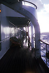 Looking on to ships deck during rainstorm in the Atlantic.