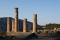 DELPHI, GREECE - APRIL 11 : A general view of the East side of the Temple of Apollo with the ramp of ascent to the temple in the centre at sunrise, on April 11, 2007 in the Sanctuary of Apollo, Delphi, Greece. The ruins of the Temple of Apollo belong to the 4th century BC, the third temple built on the site, still in the Doric order and completed in 330BC. Its architects were the Corinthians Spintharos Xenodoros and Agathon. (Photo by Manuel Cohen)