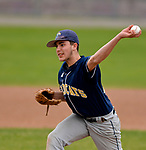 TORRINGTON, CT-042017JS05- Wolcott Tech's Ryan Marconi (12) delivers a pitch during their game against Harding Wednesday at Fuessenich Park in Torrington. <br /> Jim Shannon Republican-American