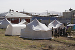 ERCIS, TURKEY: Tents are erected for earthquake survivors...On October 23, 2011, a 7.2 magnitude earthquake hit eastern Turkey killing over 250 people and wounding over a thousand...Photo by Ali Arkady/Metrography