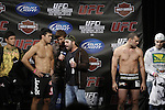 October 23, 2009; Los Angeles, CA; USA; Joe Rogan (c) speaks with challenger Lyoto Machida at the weigh-in for his fight against Mauricio Rua.