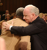 hington, D.C. - March 24, 2004 -- Abraham Scott and Richard A. Clarke hug at the conclusion of his testimony before the National Commission on Terrorist Attacks Upon the United States hearing  in Washington, DC on March 24, 2004. <br /> Credit: Ron Sachs / CNP<br /> [RESTRICTION: No New York Metro or other Newspapers within a 75 mile radius of New York City]