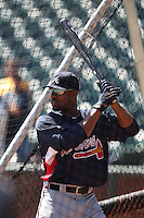 SAN FRANCISCO - APRIL 9:  Jason Heyward of the Atlanta Braves takes batting practice before the game between the Atlanta Braves and the San Francisco Giants on Friday, April 9, 2010, at AT&T Park in San Francisco, California.  The Giants defeated the Braves 5-4.  (Photo by Brad Mangin)