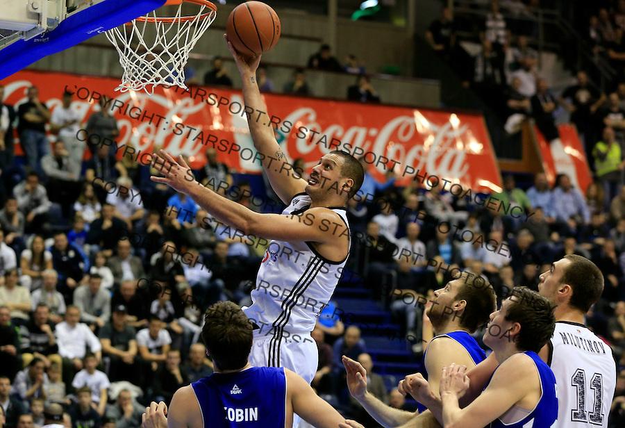 Kosarka ABA League season 2014-2015<br /> Partizan v Zadar<br /> Aleksandar Pavlovic (C) Josip Sobin (L)<br /> Beograd, 15.03.2015.<br /> foto: Srdjan Stevanovic/Starsportphoto&copy;