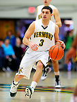 17 January 2010: University of Vermont Catamount guard Joey Accaoui, a Junior from Lincoln, RI, in action against the Boston University Terriers at Patrick Gymnasium in Burlington, Vermont. The Catamounts, holding the lead for the entire game, defeated the Terriers 78-58. Mandatory Credit: Ed Wolfstein Photo